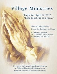 April flyer for Village Ministries
