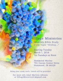 March flyer for Village Ministries