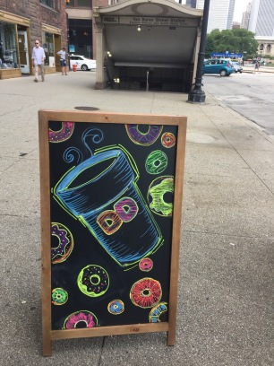 Front of Dunkin' Donuts Chalk Ad